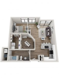 Cascade 1 Bedroom Floor Plan